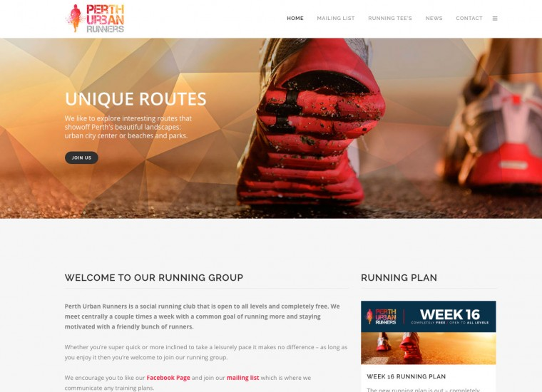 Perth Running Group website